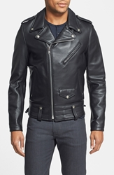 Schott Nyc 'Chips' Moto Leather Jacket Black