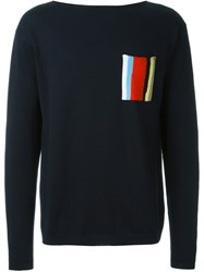 Iceberg Striped Chest Pocket Knitted Sweater Blue