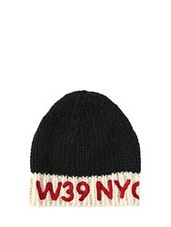 Calvin Klein 205W39nyc Logo Embroidered Wool Knit Beanie Hat Black Ivory