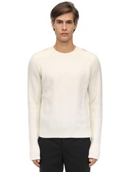 Neil Barrett Shetland Wool Knit Sweater Off White