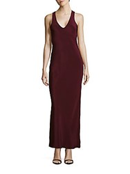 Tibi Solid Sleeveless Silk Gown Plum
