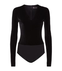 Alice Olivia Lacy Velvet Bodysuit Female Black