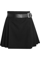 Alexander Mcqueen Pleated Grain De Poudre Wool Wrap Mini Skirt Black