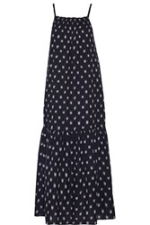 Current Elliott Holly Smocked Embroidered Cotton Midi Dress Midnight Blue