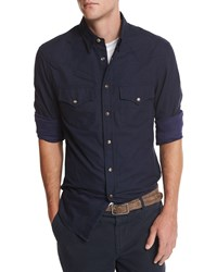 Brunello Cucinelli Flannel Western Style Button Down Shirt Navy