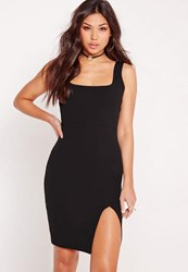 Missguided Square Neck Side Split Midi Dress Black