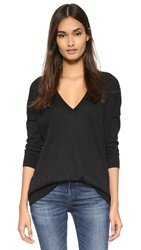 Autumn Cashmere Cashmere Slouchy V Neck Sweater Black