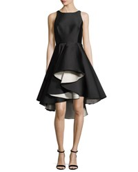 Halston Sleeveless Colorblock Fit And Flare Cocktail Dress Black White Multi