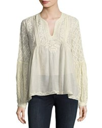 Love Sam Embroidered Long Sleeve Peasant Blouse Nude