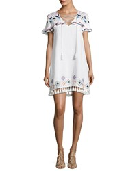 Red Carter Marina Embroidered Coverup Swim Dress White White Pattern