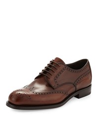 Prada Leather Wing Tip Lace Up Brown