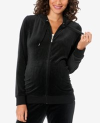 Motherhood Maternity Zip Front Velour Hoodie Black