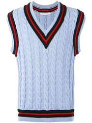 Givenchy Cable Knit Sleeveless Jumper Men Cotton Polyester Wool L Blue
