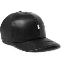 Neil Barrett Embellished Leather Baseball Cap Black