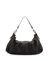 Foley Corinna Equestrian Soft Pleat Hobo Bag Black Brown