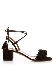 Aquazzura Wild Thing Fringed Block Heel Suede Sandals Black