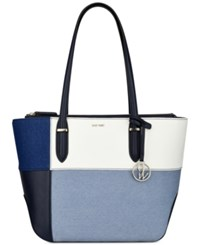 Nine West Reana Denim Colorblock Tote Denim Multi