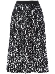 Roberto Collina Printed Pleated Skirt Black