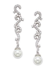 Saks Fifth Avenue 15Mm Round Freshwater Pearl Linear Drop Earrings Rhodium