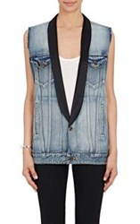 Saint Laurent Women's Shawl Lapel Denim Vest Blue