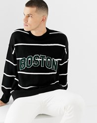 New Look Crew Neck Stripe Jumper With Boston Lettering Navy