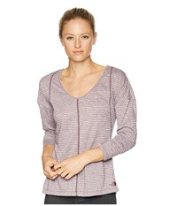 The North Face Beyond Wall Natural Fiber Long Sleeve Shirt Fig Stripe Long Sleeve Pullover Purple