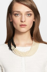 St. John Two Tone Faux Pearl Multistrand Necklace Gold Black Pearl Pearl