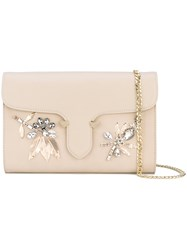 Twin Set Embellished Clutch Bag Women Polyester Polyurethane One Size Nude Neutrals