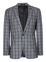 Topman Mid Grey Grey And Blue Check Skinny Fit Suit Jacket