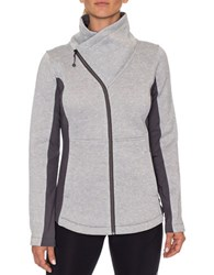 Betsey Johnson Fleece Asymetrical Zip Activewear Jacket Light Heather Grey