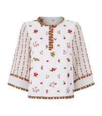 Andrew Gn Embroidered Flower Top Female White
