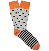 Corgi Patterned Cotton Blend Socks Orange