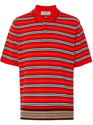 Burberry Contrast Stripe Polo Shirt Bright Red