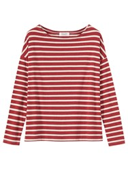 Toast Stripe Breton T Shirt Red Melange White Pebble