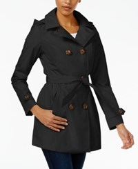 Celebrity Pink Double Breasted Trench Coat Jet Black