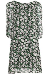 Claudie Pierlot Rififi Fleurs Floral Print Crepe De Chine Mini Dress Forest Green