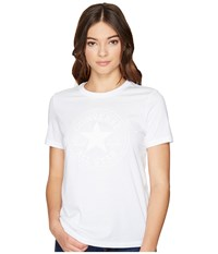 Converse Puff Chuck Patch Short Sleeve Crew Tee White Women's T Shirt