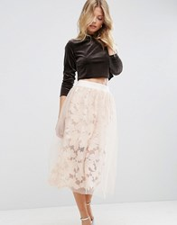 Asos Lace Prom Skirt With Mesh Overlay Nude Pink