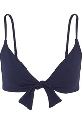 Melissa Odabash Roma Knotted Stretch Cotton Pique Bikini Top Midnight Blue
