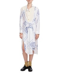 Loewe Long Sleeve Geometric Print Shirtdress Blue White Blue White