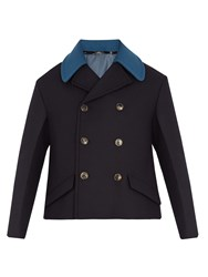 Valentino Detachable Collar Double Breasted Wool Pea Coat Navy