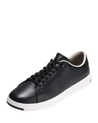 Cole Haan Grandpro Leather Tennis Sneakers Black Optic White