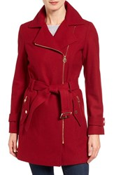 Michael Michael Kors Women's Belted Asymmetrical Wool Blend Coat Red