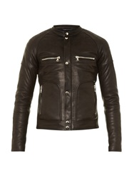 Balmain Collarless Quilted Leather Biker Jacket