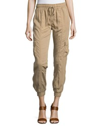 Neiman Marcus Drawstring Jogger Pants W Pockets Sand Brown