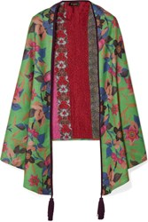 Etro Reversible Suede Trimmed Printed Cashmere And Silk Blend Scarf Green
