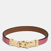 Coach Two Tone Leather Buckle Bracelet Gold Peony Saddle