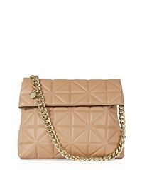 Karen Millen Quilted Shoulder Bag Nude Gold