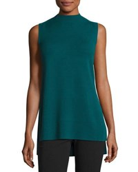 Lafayette 148 New York Sleeveless Mock Neck Tunic Blue