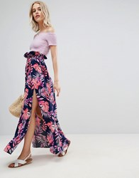 Asos Maxi Skirt With Belt And Thigh Split In Tropical Print Multi